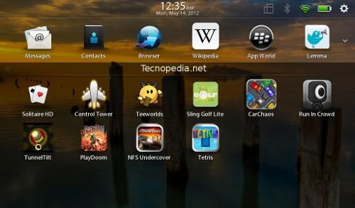 Como agrupar aplicaciones en tu BlackBerry PlayBook