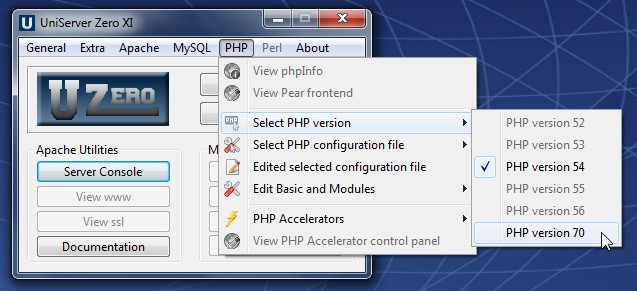Configurar php7 Uniserver
